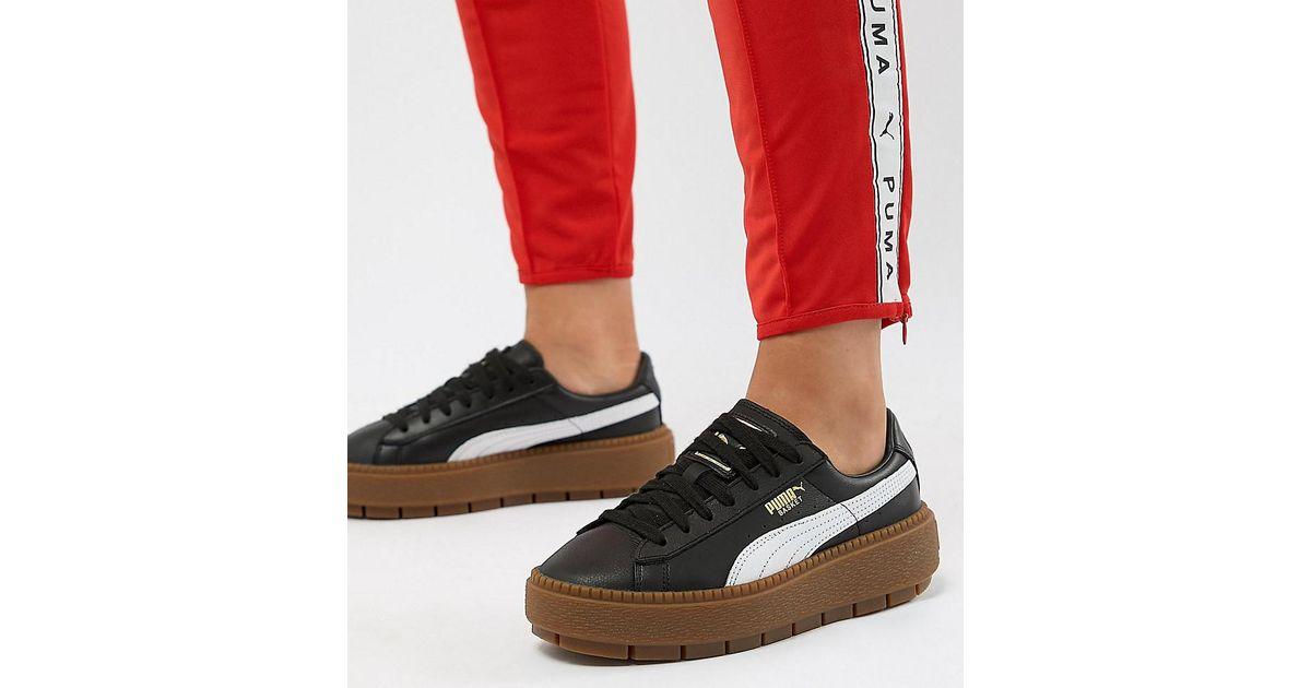 e24ceb9cb02 Zapatillas de deporte de plataforma en negro con suela de goma Trace de PUMA  de color Blanco - Lyst