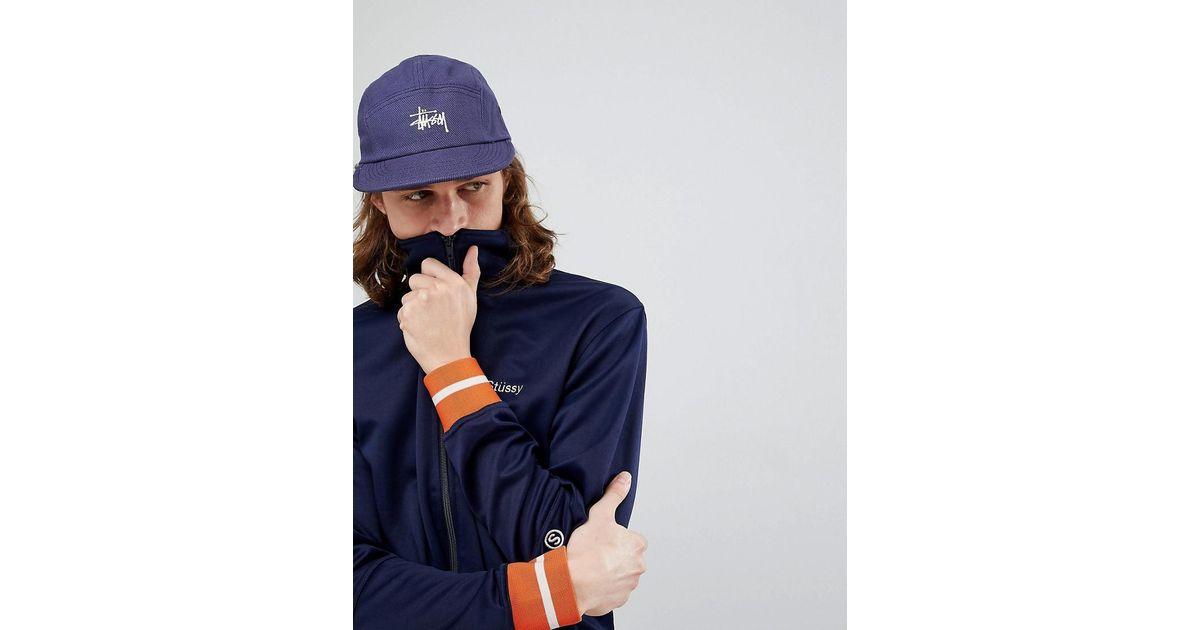 99c254af0ba Stussy Basic Logo Camp Cap in Blue for Men - Lyst