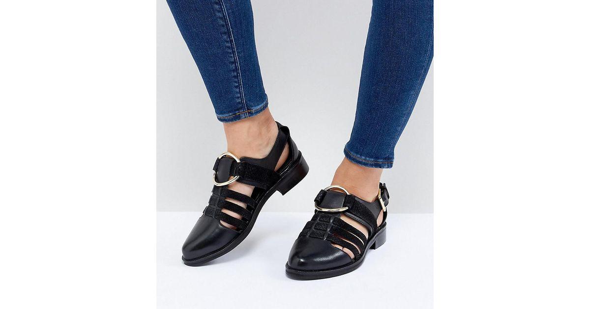 58d0686297d ASOS Virgo Wide Fit Flat Shoes in Black - Lyst