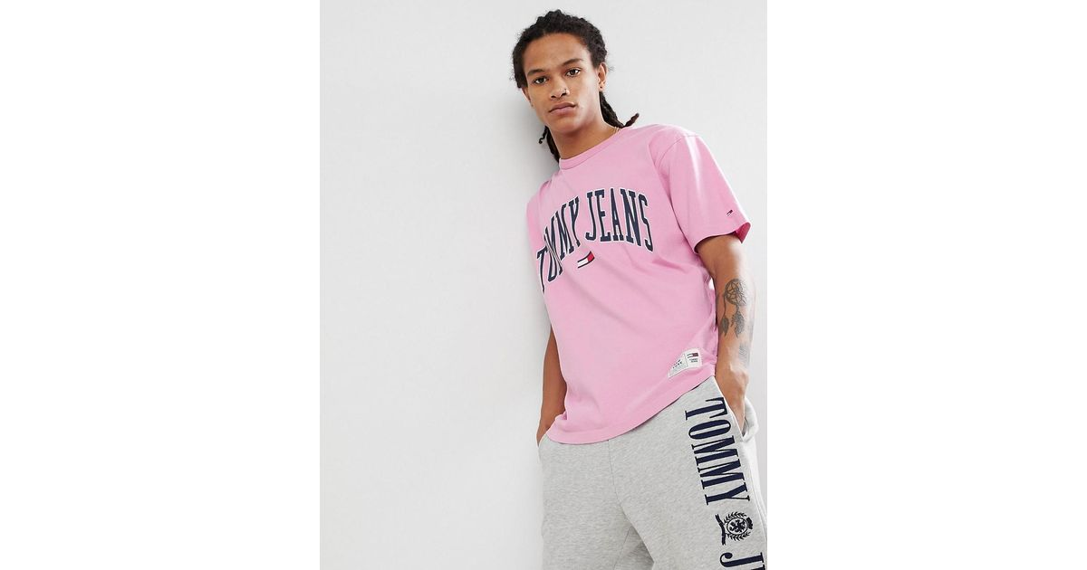 2ff822deba5e89 Tommy Hilfiger Tommy Jeans Collegiate Capsule T-shirt In Pink in Pink for  Men - Lyst