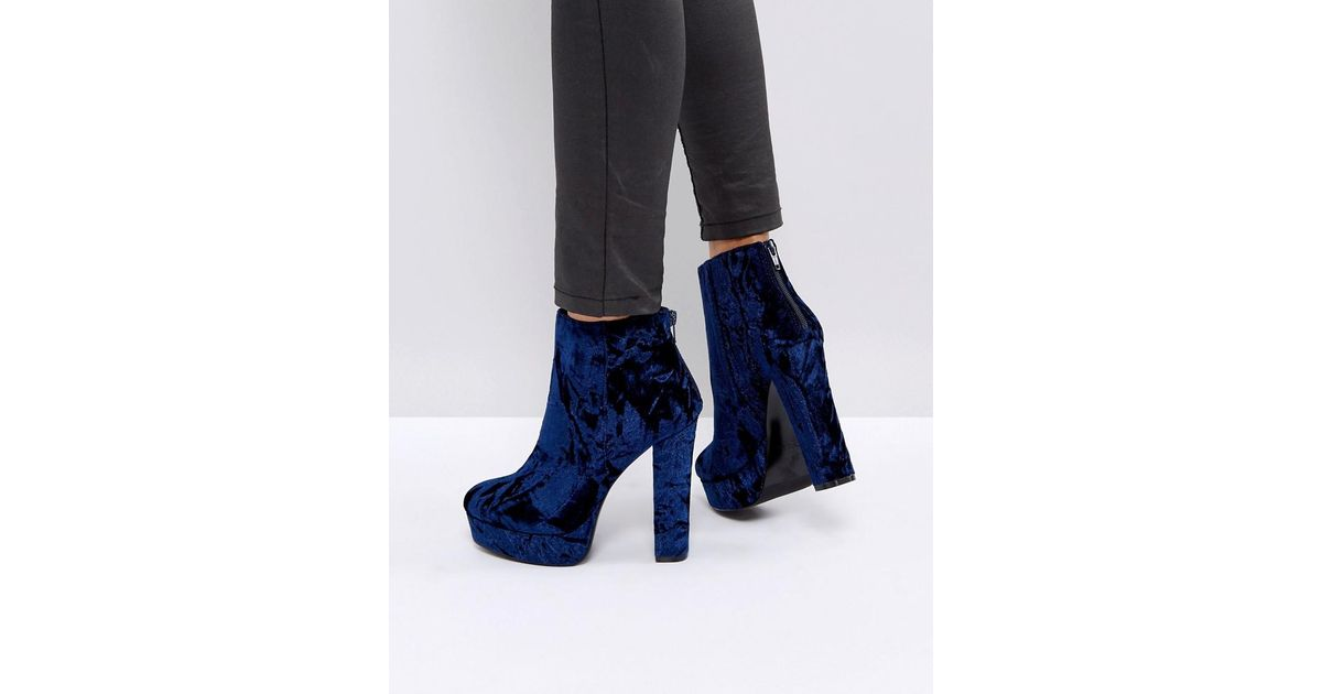 Kasser Velvet Platform Boots - Blue velvet Aldo Cheap Fake NzRY4p