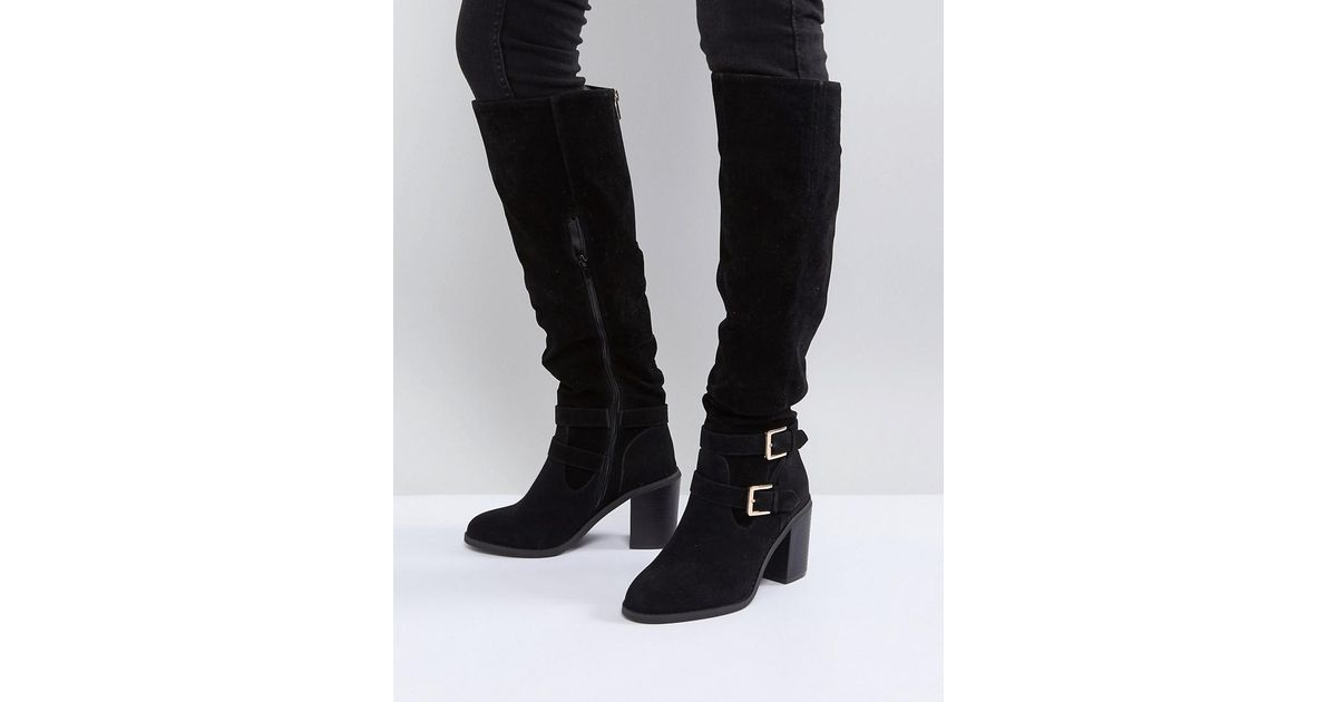 0da2aa8cd30 Miss Kg Heeled Over The Knee Buckle Boot in Black - Lyst