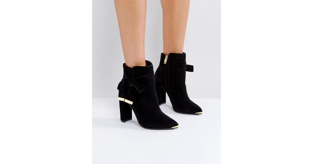 436dbc993 Ted Baker Sailly Tie Up Black Suede Heeled Ankle Boots in Black - Lyst