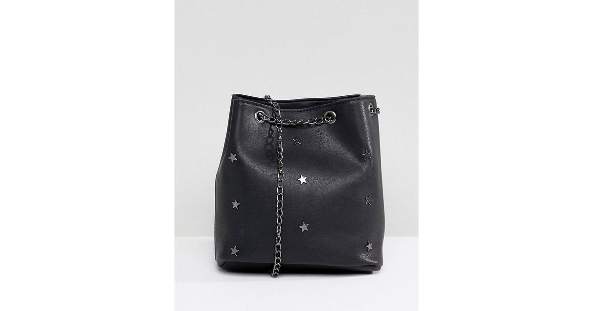 Bucket Bag with Star Studs - Black Yoki Fashion zhv8vqmp