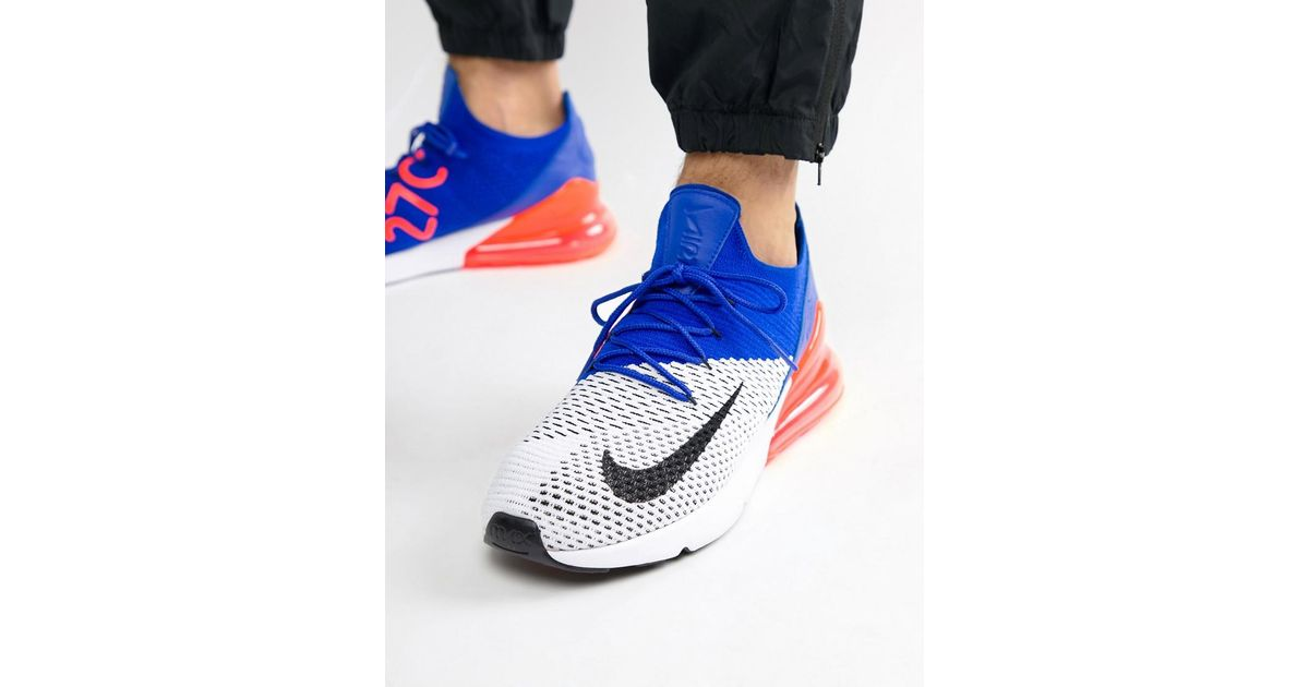 buy popular 07554 987da Nike Air Max 270 Flyknit Trainers In White Ao1023-101 in White for Men -  Lyst