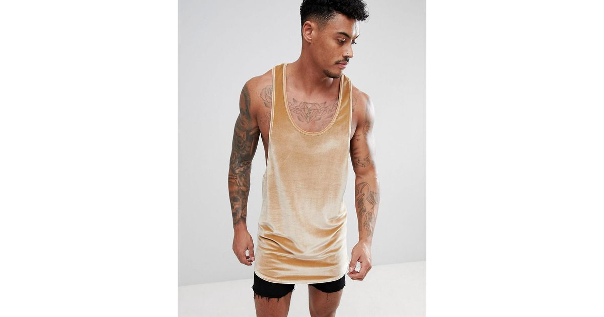 7e012615bb022 ASOS Super Longline Extreme Racer Back Vest With With Step Hem In Velour in  Natural for Men - Lyst