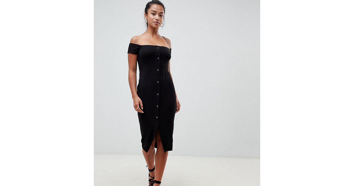 9533ae8b55 Lyst - ASOS Asos Design Petite Off Shoulder Popper Front Midi Dress In Rib  in Black