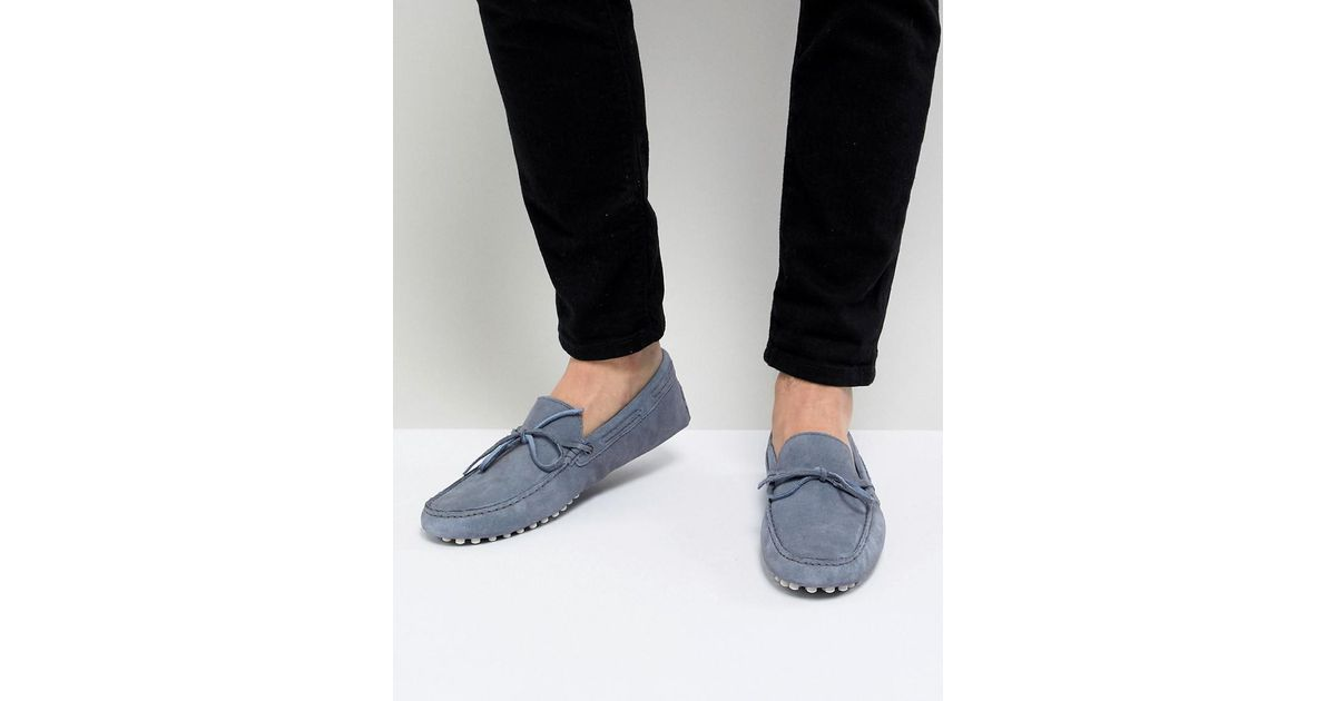 DESIGN Driving Shoes In Blue Suede With Tie Front - Blue Asos NgxUot
