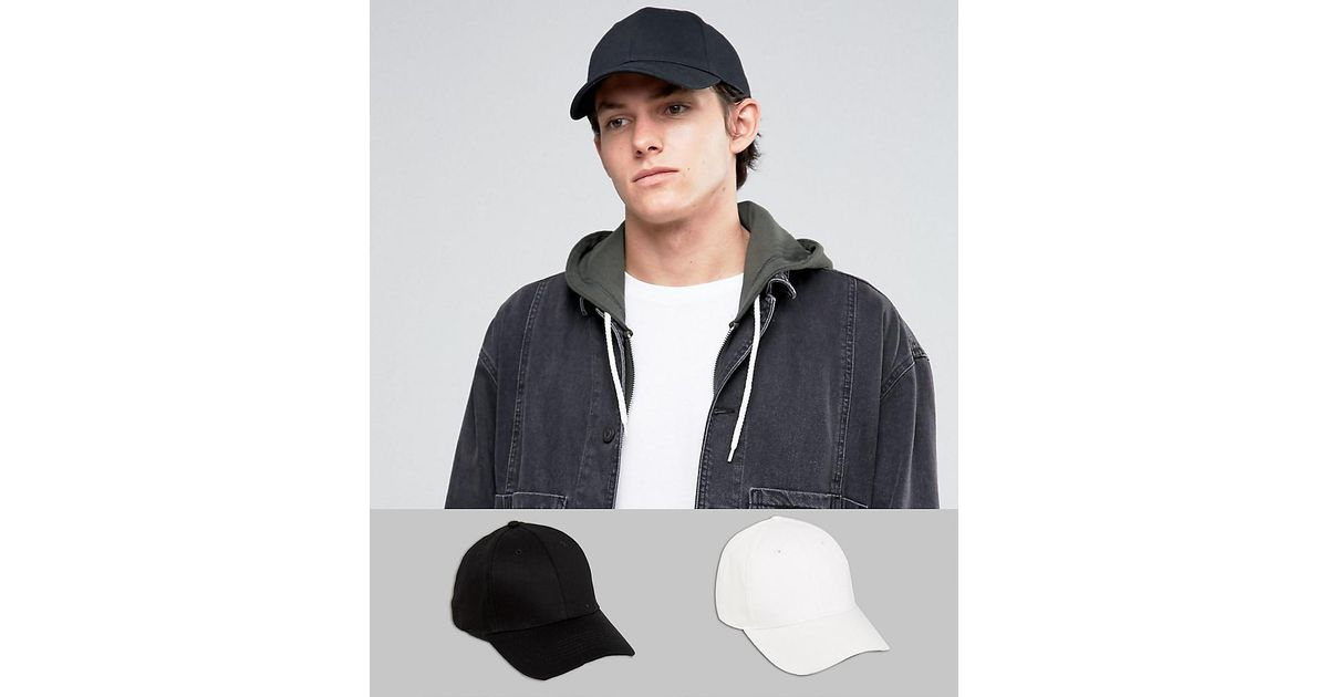 2 Pack Baseball Cap In Black and White SAVE - Black/white Asos dPFEJ5Kw