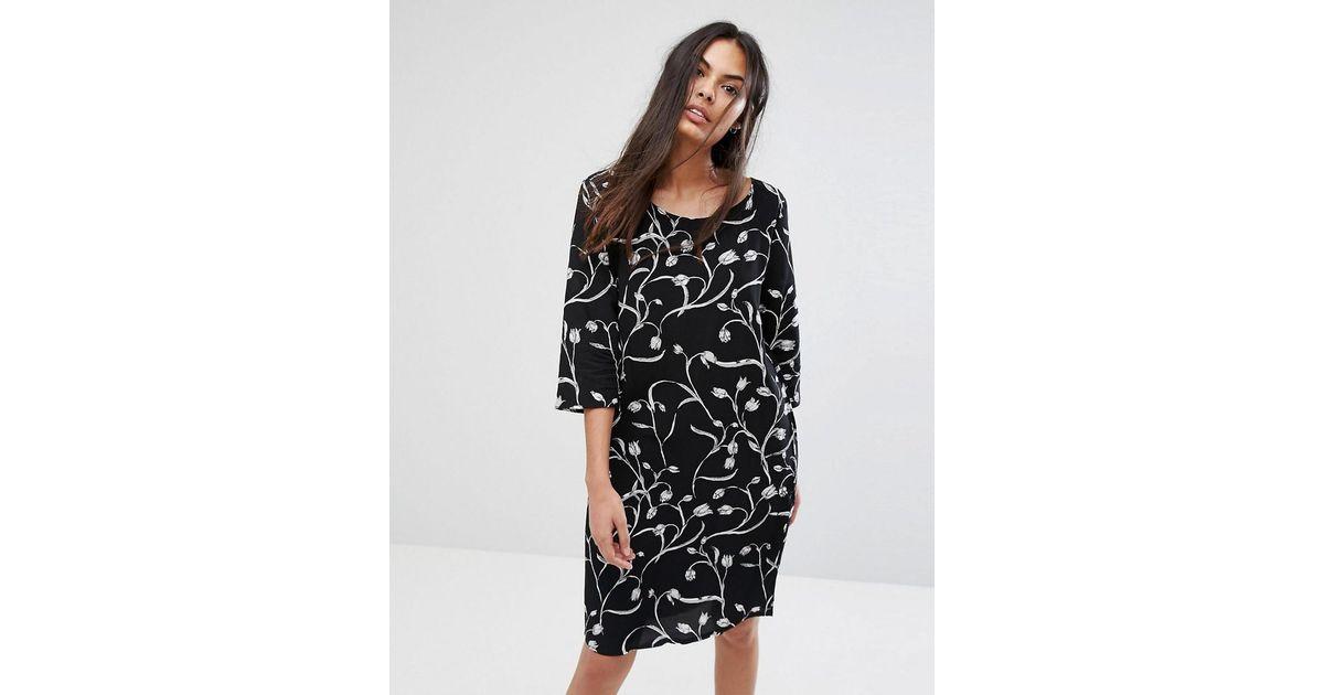 Lilica Printed Shift Dress - Black Selected qMEPHyT1lA