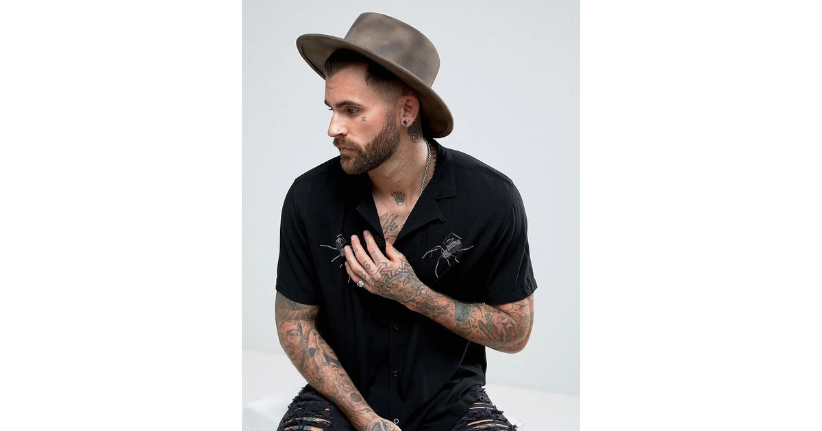 Lyst - ASOS Wide Brim Pork Pie Hat With Distressing in Brown for Men 87852903f0f
