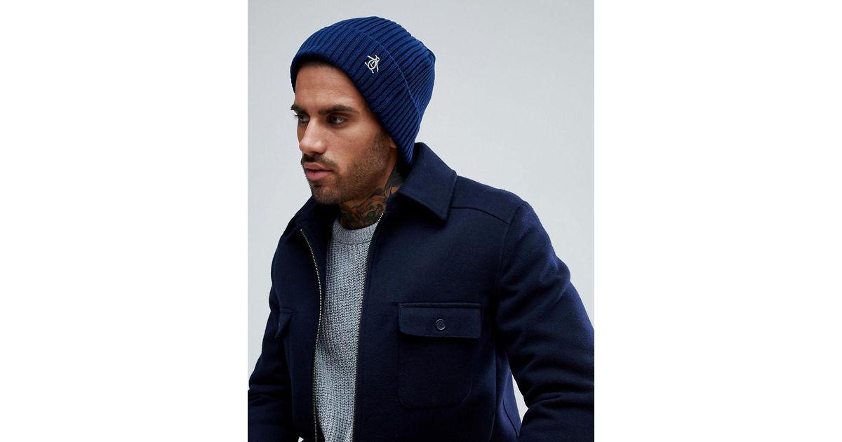 Lyst - Original Penguin Rib Beanie Hat in Blue for Men e7cde9508f0