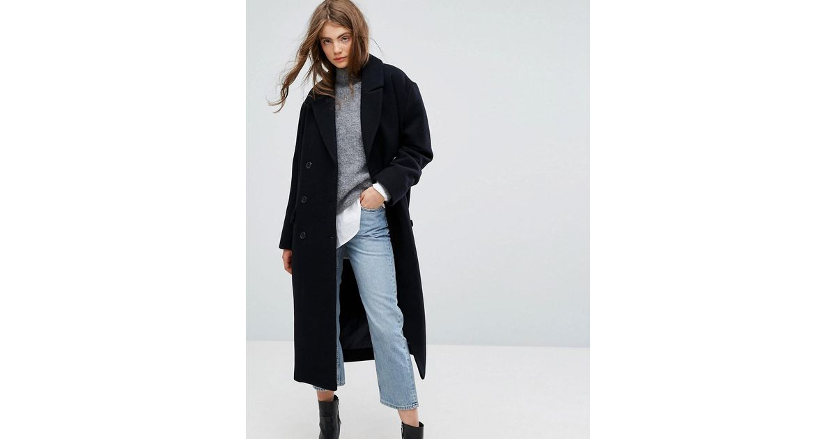 Lyst With Weekday Wool Shoulder Collection Detail Press Coat Blue In 4R35AjL