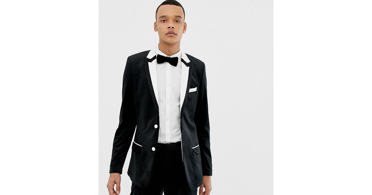 f276d281c1b8 ASOS Tall Skinny Tuxedo Suit Jacket In Black With White Tipping in Black  for Men - Lyst