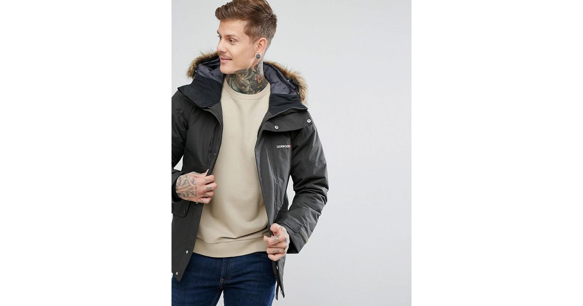 9e18ee84 Didriksons 1913 Marc Parka In Grey With Faux Fur Collar In Grey in Green for  Men - Lyst