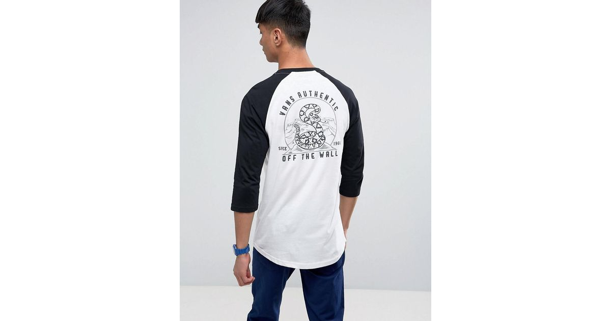 422ac85969 Vans Printed Raglan T-shirt In White Va36ghyb2 in White for Men - Lyst