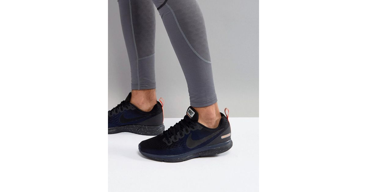8beb72ada32 Nike Air Zoom Pegasus 34 Shield Trainers In Black 907327-001 in Black for  Men - Lyst