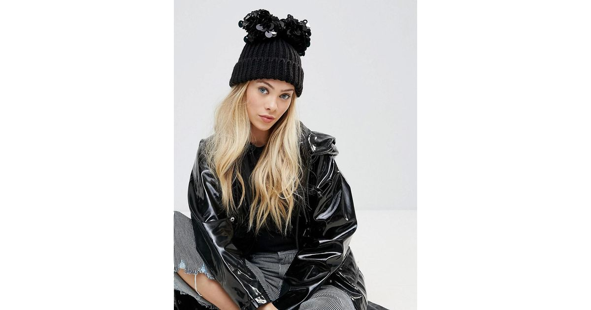89a452947d1 Lyst - ASOS Double Sequin Pom Beanie in Black