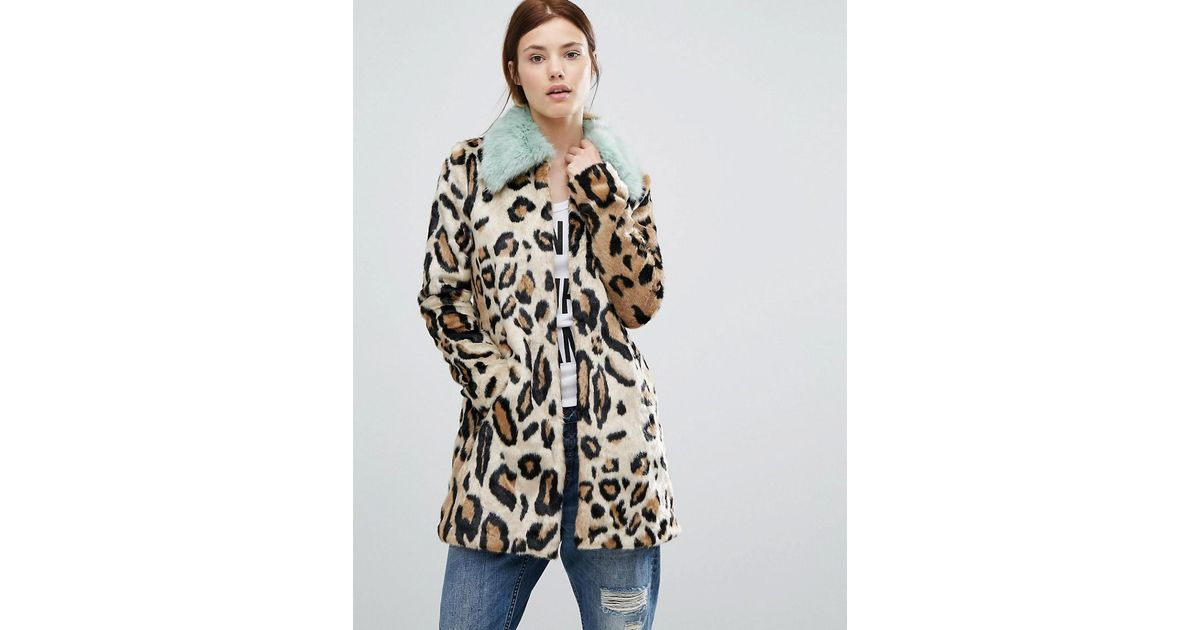 Lyst - Urbancode Faux Fur Leopard Print Coat With Faux Fur Collar in Brown 10a58800c
