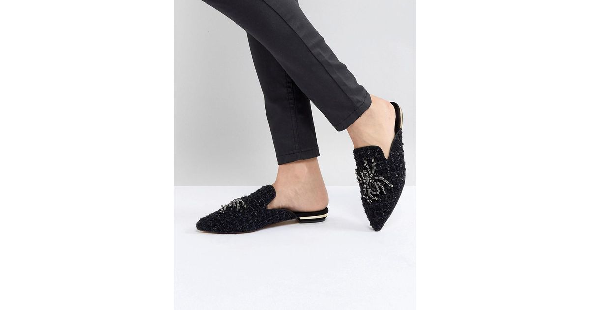 Kurt Geiger Kurt Geiger Tweed Flat Mule Spider Jewel