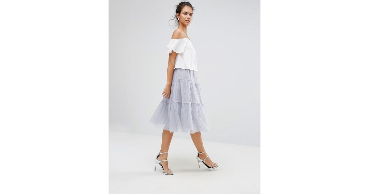 d01ca16aea5 Lyst - Boohoo Tiered Tulle Midi Skirt in Gray