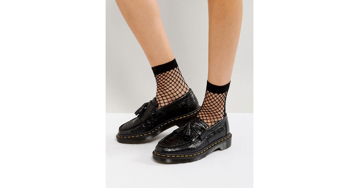 Lyst - Dr. Martens Adrian Croc Tassle Loafers in Black c2a9772f0e7