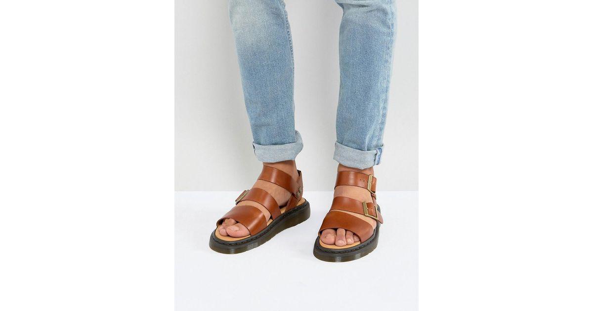 Dr. Martens Brown Gryphon Analine Sandals In Oak for men