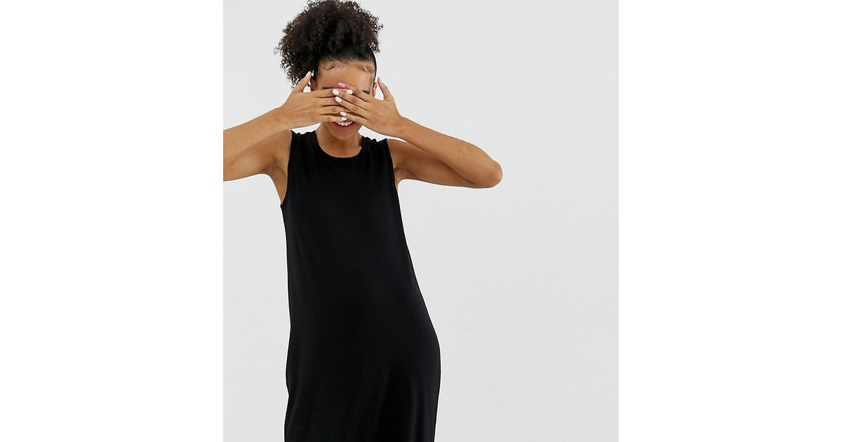 c803f1e1a79b1 Lyst - Monki Sleeveless Jersey Mini Dress In Black in Black