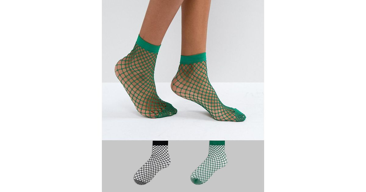 935b35a308b7c Lyst - ASOS 2 Pack Oversized Fishnet Socks In Black And Green in Green