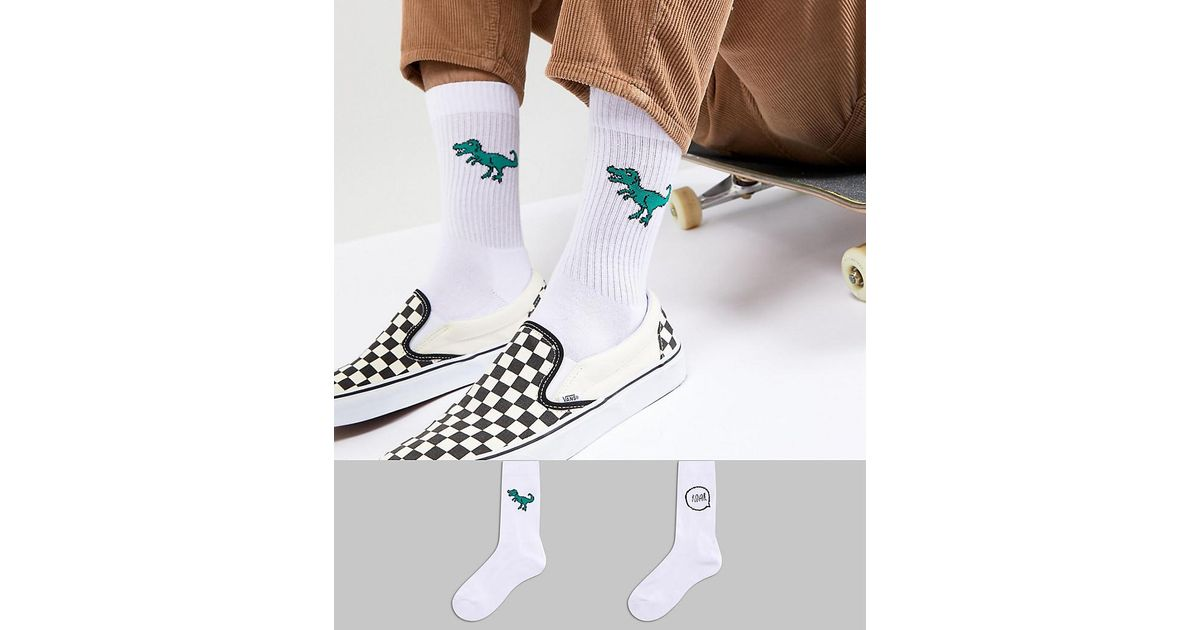 d0de5d78a ASOS Design Tube Style Socks With Dinosaur Embroidery 2 Pack in White for  Men - Lyst