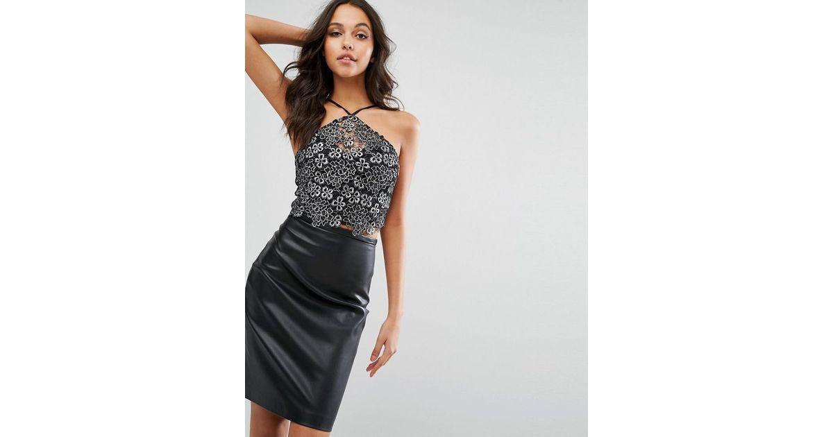 7eed5dec611b62 Lipsy Michelle Keegan Loves Lace Crop Top in Black - Lyst