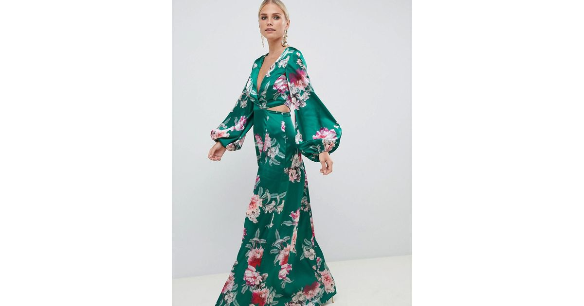 053d8f60b4777 ASOS Long Sleeve Floral Print Cut Out Wrap Maxi Dress in Blue - Lyst