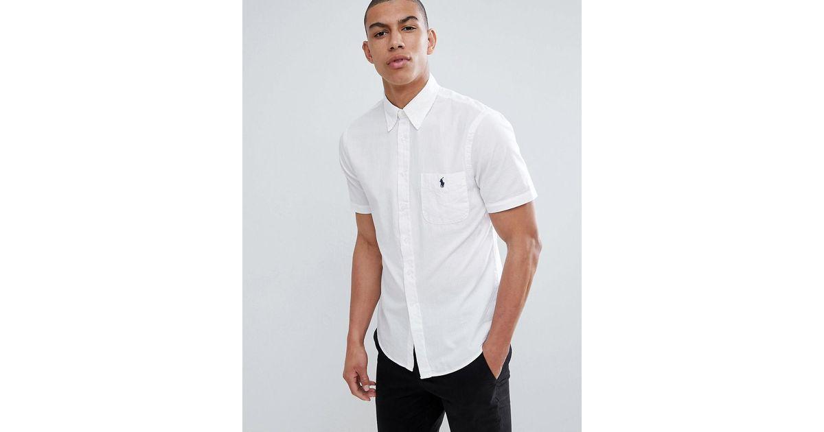 656d453b20f8 Polo Ralph Lauren Slim Fit Short Sleeve Seersucker Shirt With Player Logo  In White in White for Men - Lyst