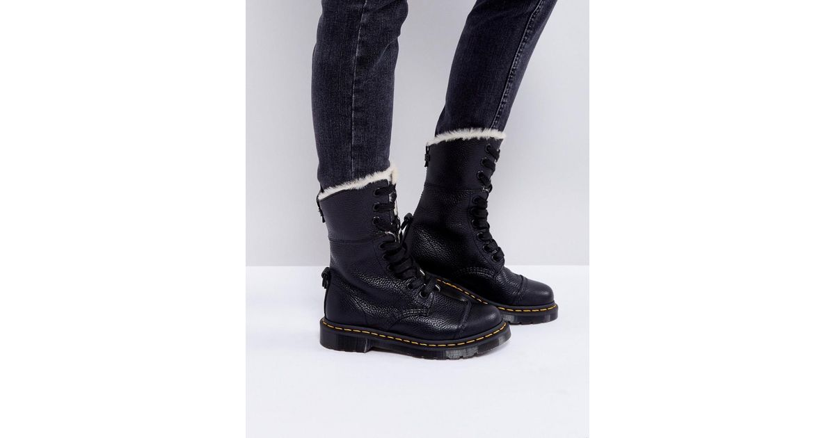 Lyst - Dr. Martens Aimilita Faux Fur 9 Eye Boots in Black f9c6872e0650