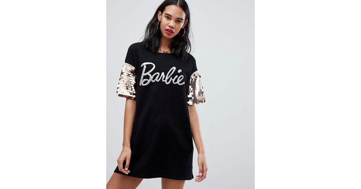 f50f5749d38b Missguided Barbie Glitter Logo Sequin Sleeve T-shirt Dress in Black - Lyst