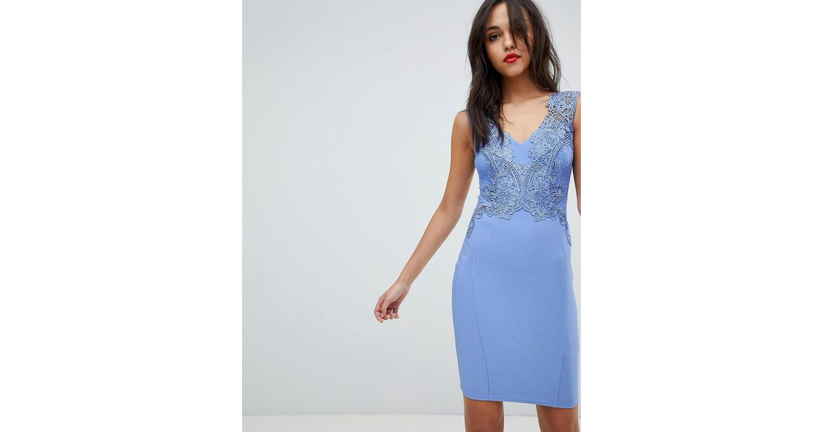 Lipsy v neck floral applique bodycon dress in blue lyst