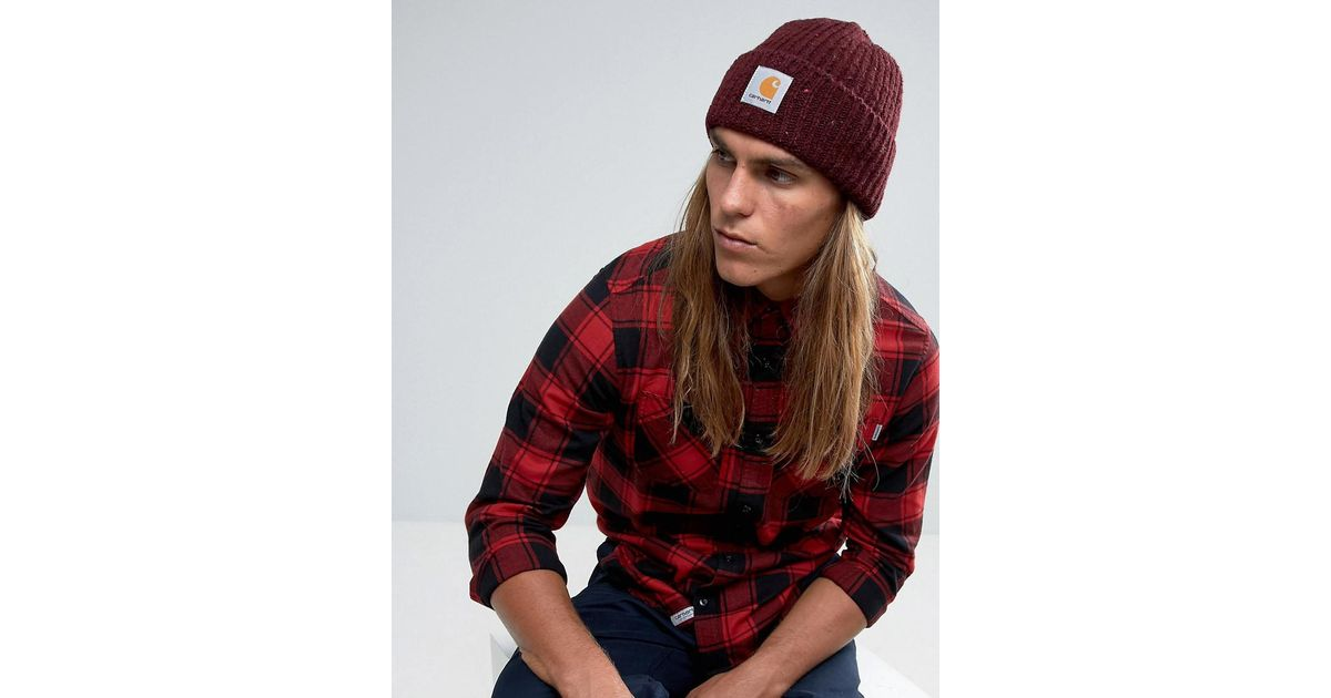 Lyst - Carhartt WIP Anglistic Beanie in Red for Men 13cec34dfbd