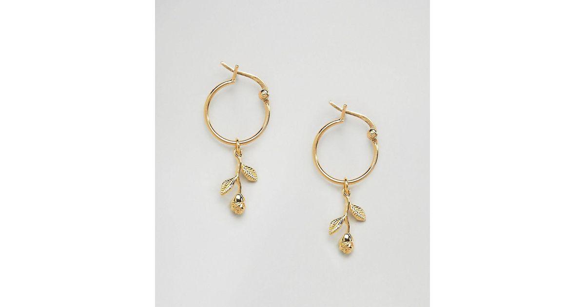 Lyst Asos Gold Plated Sterling Silver Rose Charm Hoop Earrings In Metallic