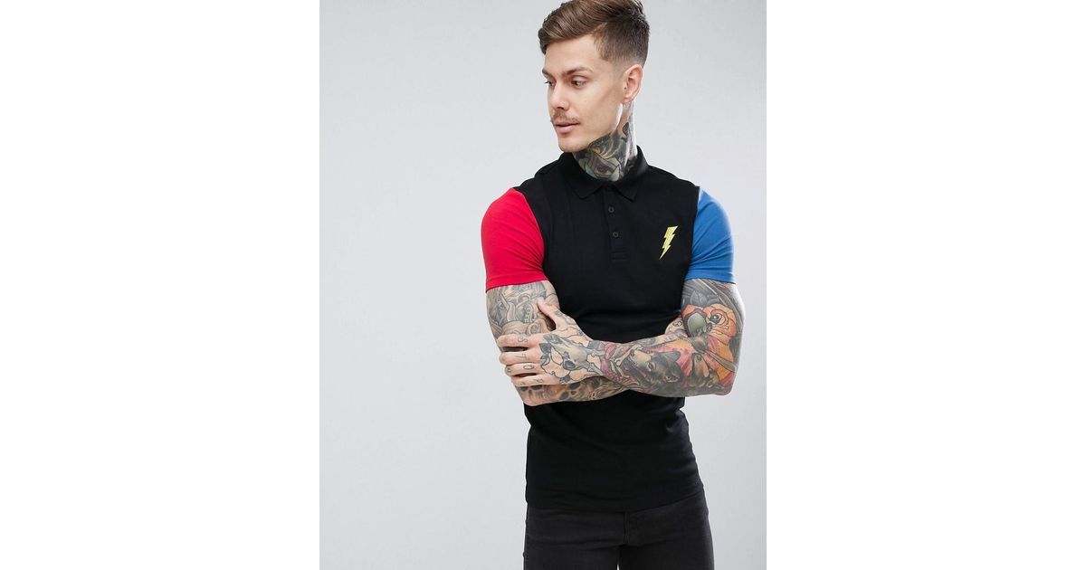 40bfdb21 ASOS Muscle Fit Polo With Contrast Sleeves And Lightning Embroidery in  Black for Men - Lyst