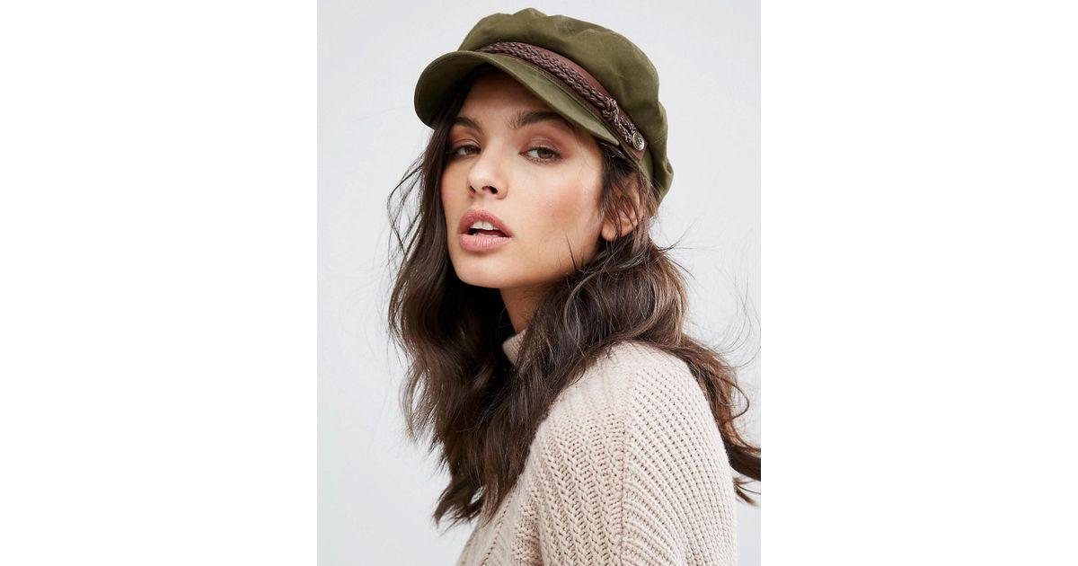 Brixton - Green Baker Boy Hat In Khaki - Lyst 06285a7cef8