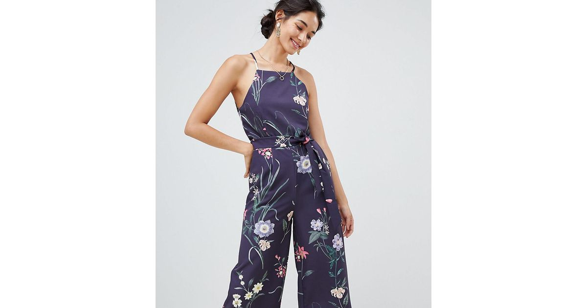 c67b41d95b93 Lyst - Oasis Jumpsuit With Lace Back Detail In Floral Print in Blue