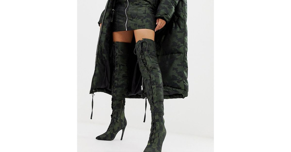 8126919533a Lyst - ASOS X Laquan Smith Padded Over The Knee Heeled Boot In Camo  Jacquard in Black