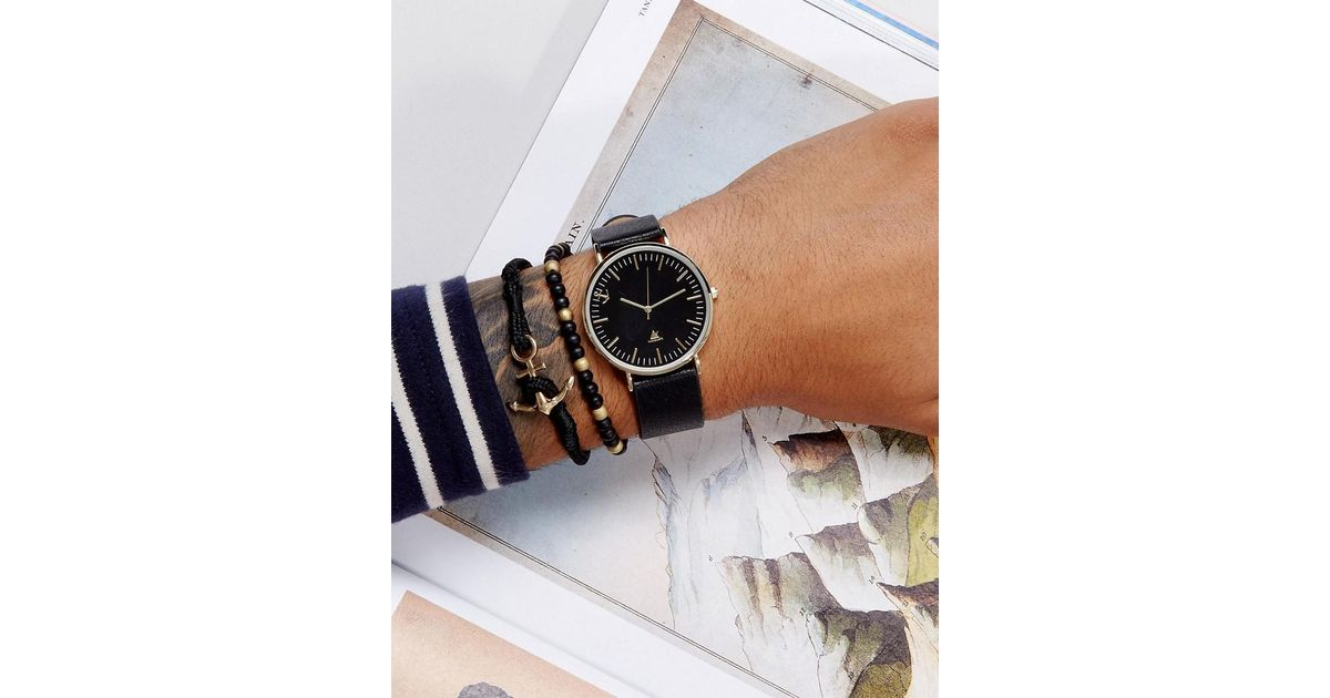 60121355d7c23a ASOS Watch And Bracelet Set In Faux Leather With Anchor Design in Black -  Lyst
