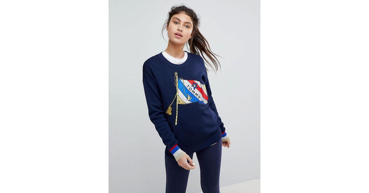Lyst - Sweat-shirt avec drapeau et dtails dors Tommy Hilfiger en coloris  Bleu 00e03a444f6c