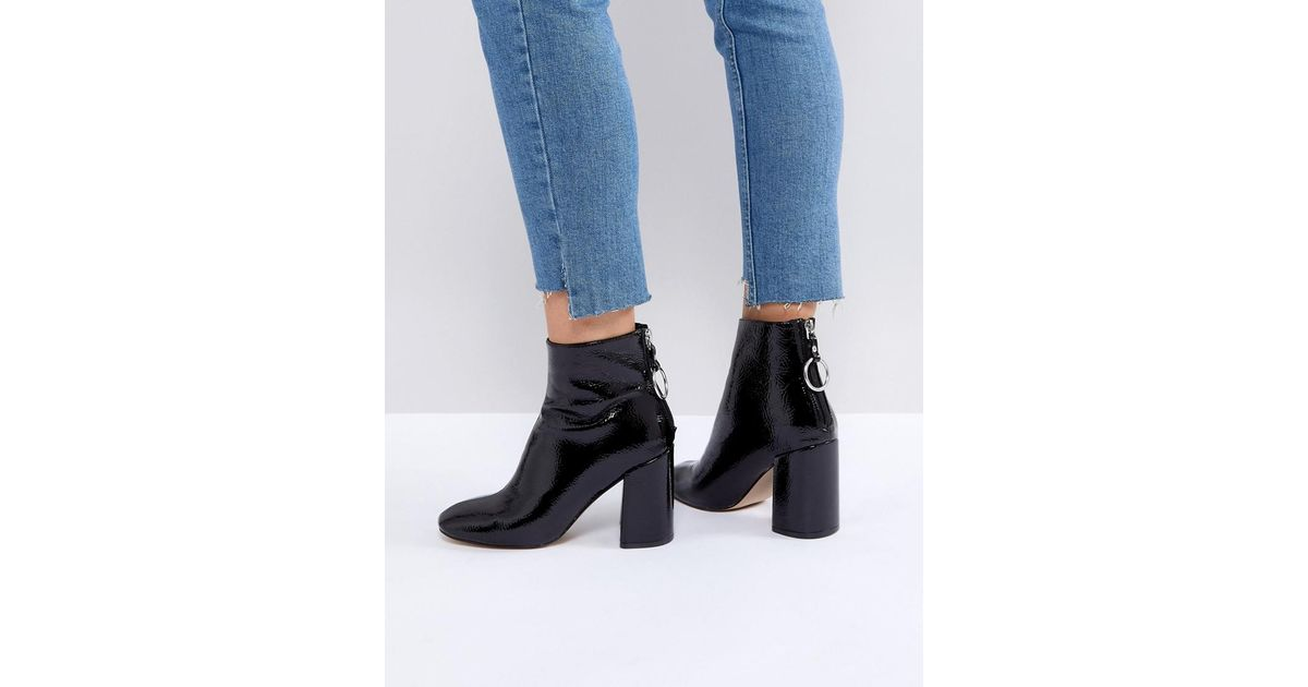 f95b00ba641 Lyst - Steve Madden Posed Black Heeled Ankle Boots in Black