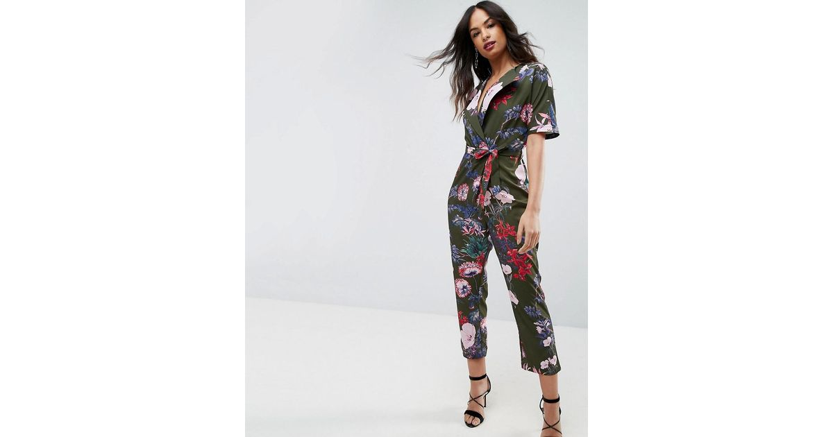 7fdd28619369 Lyst - Asos Asos Wrap Jumpsuit With Self Belt In Print
