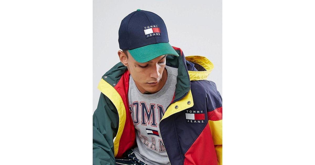 e329c1eb Hilfiger Denim Tommy Jeans 90's Capsule Colourblock Baseball Cap In Navy/green  in Blue for Men - Lyst