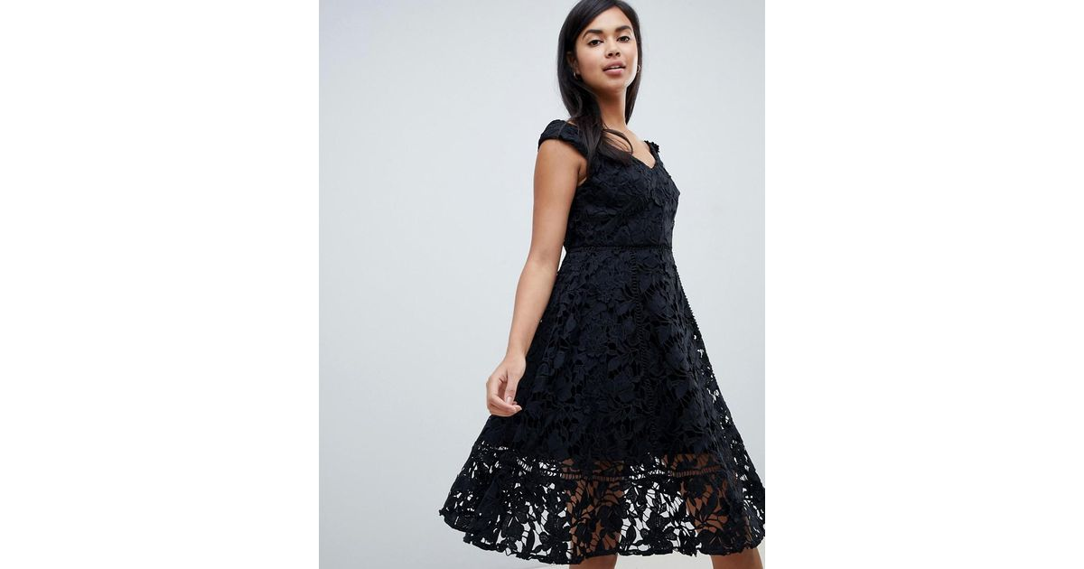 dfb1e2a629b French Connection Bardot Dress In Blossom Lace in Black - Lyst
