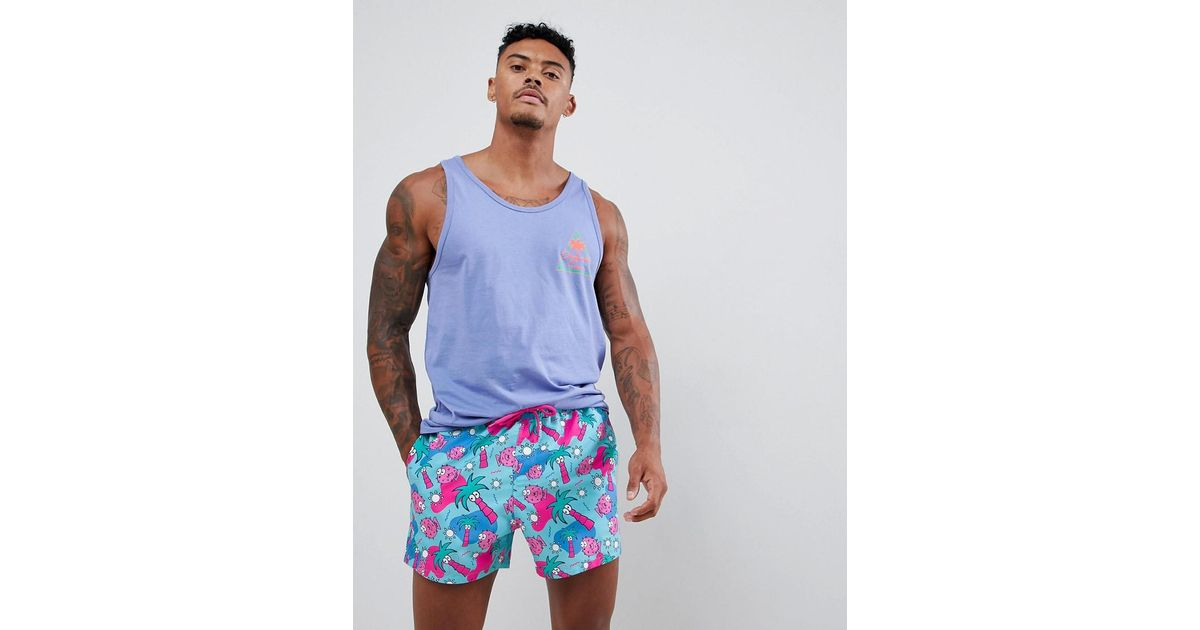5ce45351c30 Lyst - ASOS Swim Shorts With Puffer Fish & Palm Print In Short Length in  Blue for Men