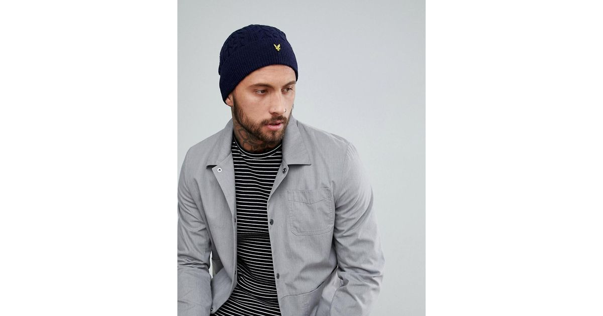ef0bca6e66a Lyst - Lyle   Scott Premium Cable Beanie In Navy in Blue for Men